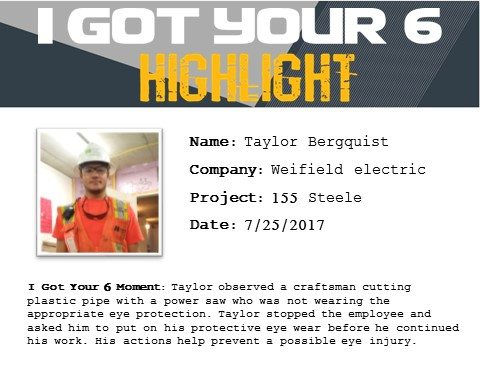 I Got Your Six Highlight 7-25-17 Taylor Bergquist